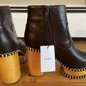 MOUSSY WOOD SOLE BRN LEATHER HIgh-Heeled BOOTS
